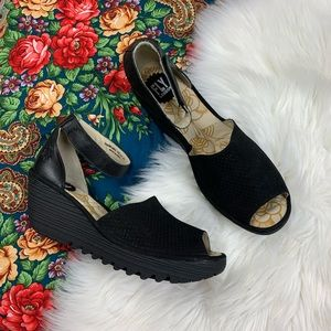 Fly London Black Perforated Leather wedges
